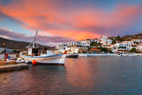 Batsi village on the coast of Andros island in Greece.