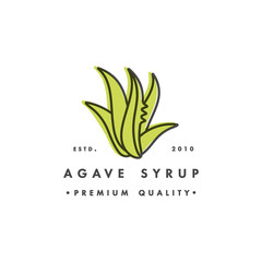 Obraz Packaging design template logo and emblem - syrup - agave. Logo in trendy linear style. - fototapety do salonu
