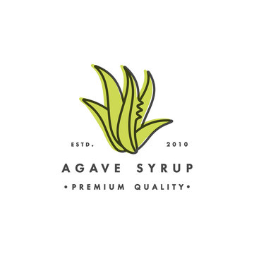 Packaging design template logo and emblem - syrup - agave. Logo in trendy linear style.