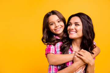 Close up portrait of tender gentle motherhood parenthood feel satisfied glad have free time warm cozy cuddle touch hands show trust isolated wear colorful stylish clothing on vivid background