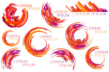 Red purple orange color tone circle, crescent shapes, symbols, icons set.