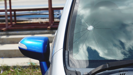 Broken windshield on car. Accident of car.