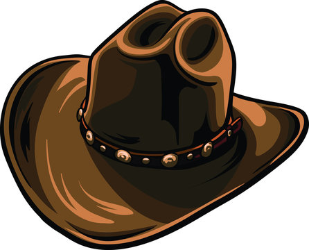 Brown cowboy hat with black outline. Cartoon sheriff hat vector format.