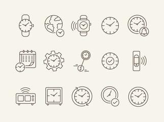 Hours line icon set