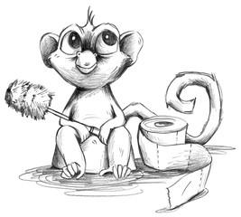 Bleistift Zeichnung von Affenbaby auf Toilette