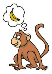 Hungriger Affe mit Banane in Gedankenblase