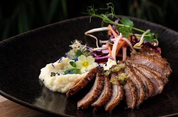 Haute cuisine/Asian fusion, roasted duck with purree