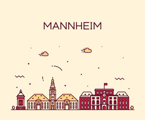 Fotomurales - Mannheim skyline Germany vector city linear style