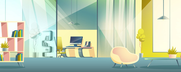 Modern business office, home work cabinet interior cartoon vector with comfortable armchair, book shelves in lounge area or living room, glass partition, work desk with personal computer illustration