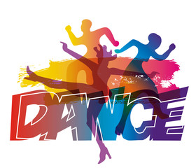 Modern dance, disco dancers. stylized colorful illustration of dancing young people WITH inscription DANCE. Isolated on white background. Vector available.