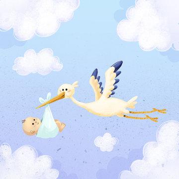 cigüeña volando con bebe por el cielo
