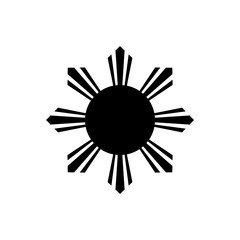 The black eight-rayed sun of flag of the Republic of Philippines isolated on white background.