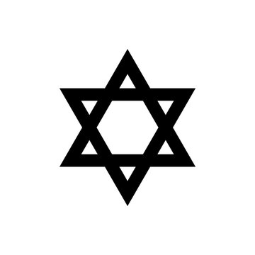 The black Star of David. The national symbol of the State of Israel isolated on white background.
