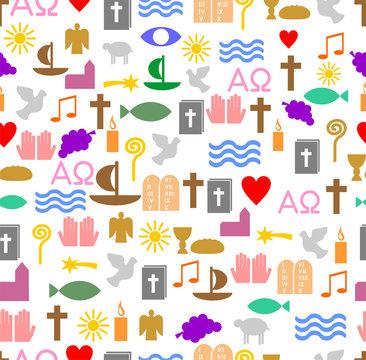 Farbige christliche Symbole als Kachel
