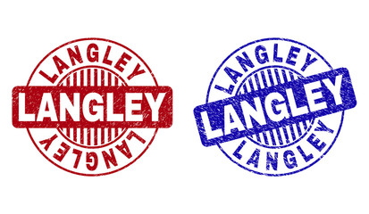 Grunge LANGLEY round stamp seals isolated on a white background. Round seals with grunge texture in red and blue colors. Vector rubber overlay of LANGLEY label inside circle form with stripes.