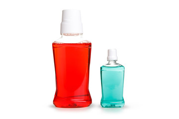 Red and Blue water mouth wash isolate on white background ,included clipping path