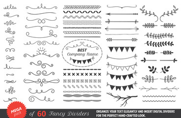 dividers, flourishes, calligraphy and lettering elements. isolated vector text decor elements.