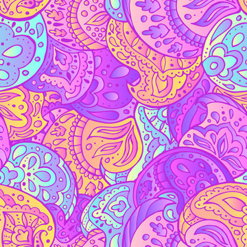 Magical paisley seamless pattern. Hand drawn vector illustration. Trendy magic print. gradient neon bright colors
