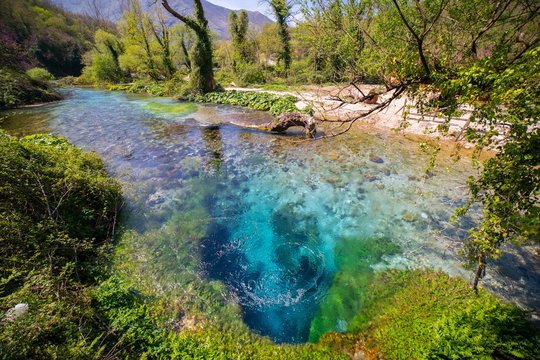 The Blue Eye spring (Syri i Kalter), a more than fifty metre deep natural pool with clear, fresh water, near Sarande in Vlore Country in southern Albania