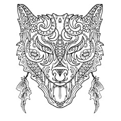 Wild beautiful wolf head hand draw on a white background. Color book. Fashion in a vector illustration