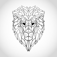 African lion head icon. Abstract triangular style. Contour for tattoo, logo, emblem and design element. Hand drawn sketch