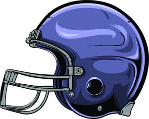 American football helmet vector illustration.  Indigo, hand drawn helmet for american football player with black outline.