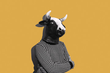 young man with a cow mask Wall mural