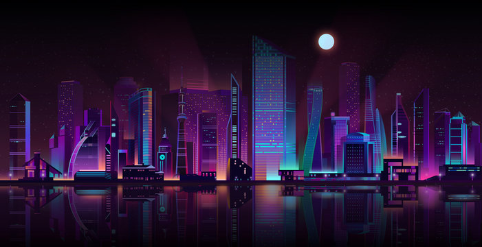 Modern metropolis streets shrouded in darkness cartoon vector background. Futuristic skyscrapers buildings illuminated with neon color lights and moonlight on seashore illustration. Urban architecture