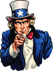 Uncle Sam vector illustration with pointing hand.