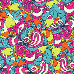 Seamless pattern with colorful magic mushrooms in doodle style. 60s hippie psychedelic art. Print for fabric