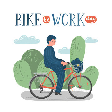 Bike to Work Day. Man in formal clothes on bike with basket with lettering.