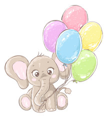 Cute cartoon elephant with balloons. Hand drawn vector illustration.