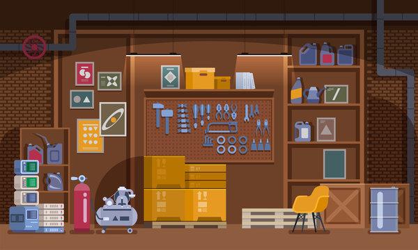 Basement Workshop vector Illustration. Garage or Cellar Indoor Storehouse