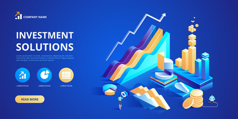 Investment solutions Commerce solutions for investments analysis concept Vector isometric illustration