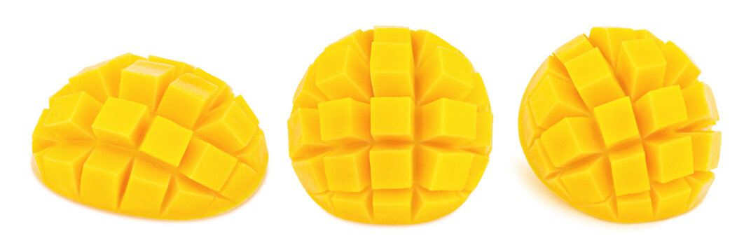 Carved mangoes isolated on a white background.
