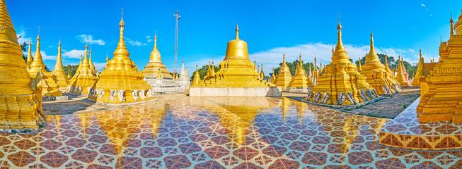 Explore stupas of Nget Pyaw Taw Paya, Pindaya, Myanmar Wall mural