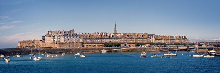 Panoramic seaside view of Saint Malo, Brittany, France Wall mural