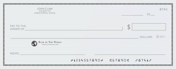 Blank bank cheque. Personal desk check template with empty field to fill.