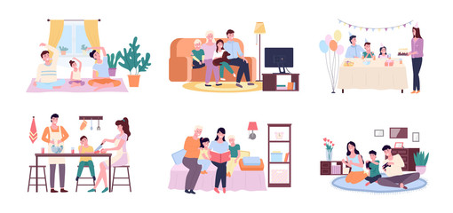 People at home vector, mother and father with kid cooking in kitchen. Birthday cake celebration, looking at photo albums, watching tv set, playing games