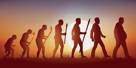 Concept de l'obésité et de la mauvaise alimentation avec le symbole de Darwin montrant l'évolution de l'homme primitif vers l'homme moderne, aboutissant à un homme en surpoids qui marche péniblement.