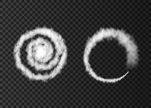 White smoke  spiral   plane  track isolated on transparent background.