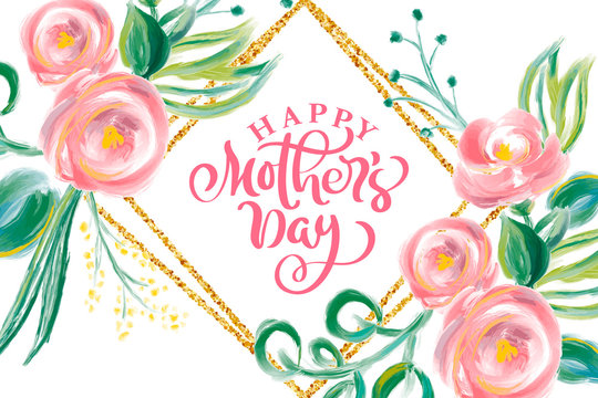 Happy Mothers day hand lettering text with beautiful flowers. Vector illustration watercolor. Good for greeting card, poster or banner, invitation postcard icon