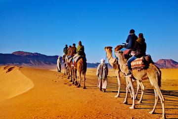 Poster Kameel Caravana de camellos en el Sahara de Marruecos. Concepto de viajes y aventuras exóticas.