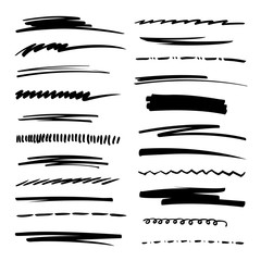 Hand drawn collection set of underline strokes in marker brush doodle style. Grunge brushes.