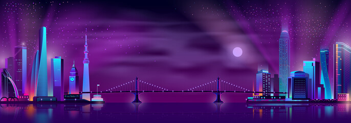 Deurstickers Violet Modern city night landscape neon color cartoon vector with suspension bridge connecting two districts of modern metropolis with illuminated skyscrapers on opposite sides of river or bay illustration.