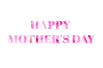 Happy Mothers Day greetings text made of pink rose petals.