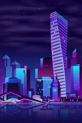 Canvas Prints Violet Modern metropolis night cityscape cartoon vector background. Futuristic skyscrapers, public buildings and old architecture town hall building with clock on river shore illustration in neon colors