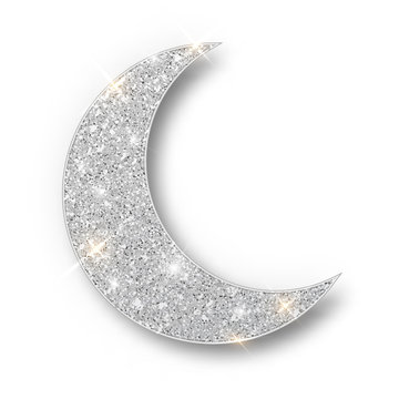 Crescent Islamic for Ramadan Kareem design element isolated. Silver glitter moon vector icon of Crescent Islamic isolated. Luxury silver crescent, half moon gold glittering confetti particles.