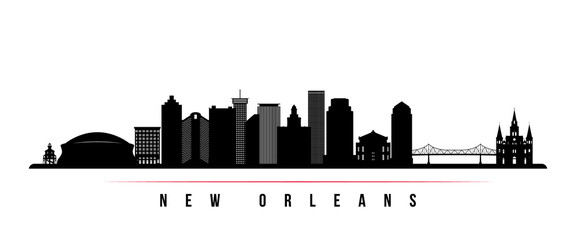 New Orleans city skyline horizontal banner. Black and white silhouette of New Orleans city, USA. Vector template for your design. Fotomurales