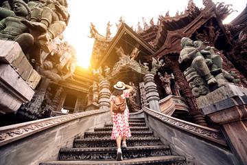 Tourist is travel in Sanctuary of truth in Pattaya, Thailand. Wall mural